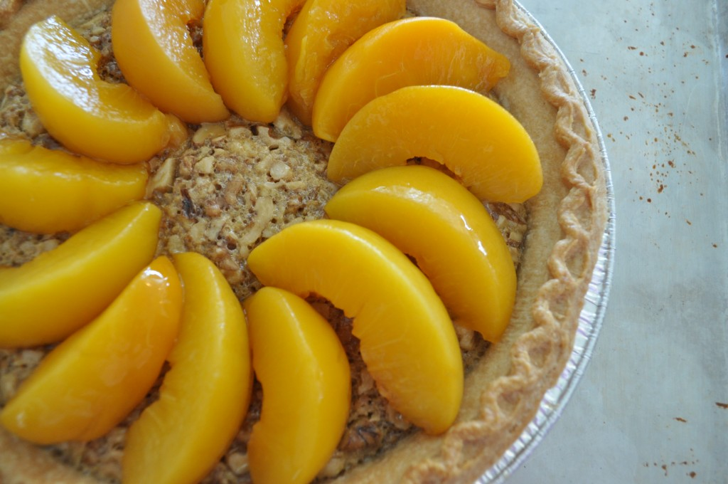 Peach Walnut Pie - Peaches like the sun
