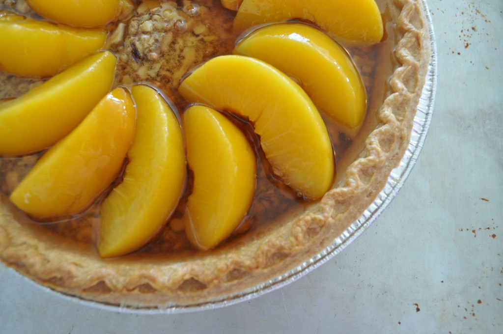 Peach Walnut Pie - Add the juice from the peaches